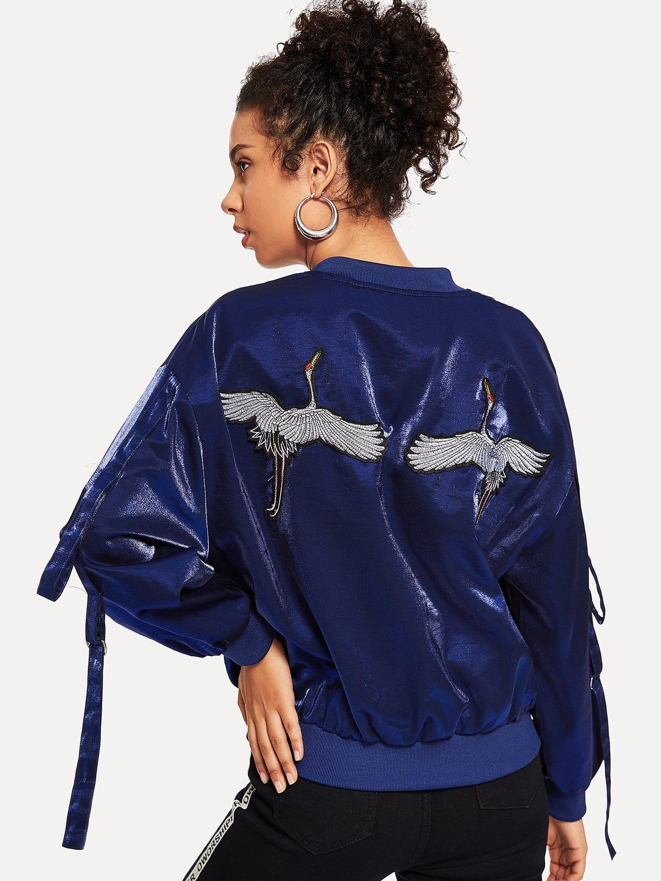 Crane Embroidery Ribbon Tape Detail Jacket
