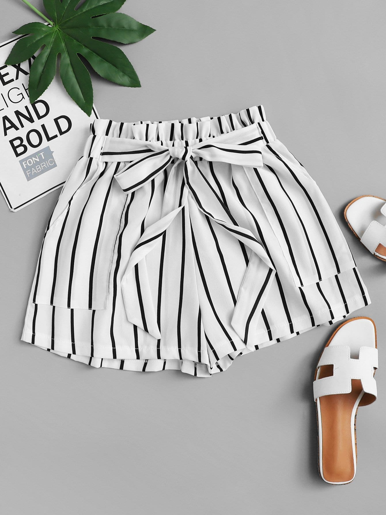 Plus Knotted Striped Shorts