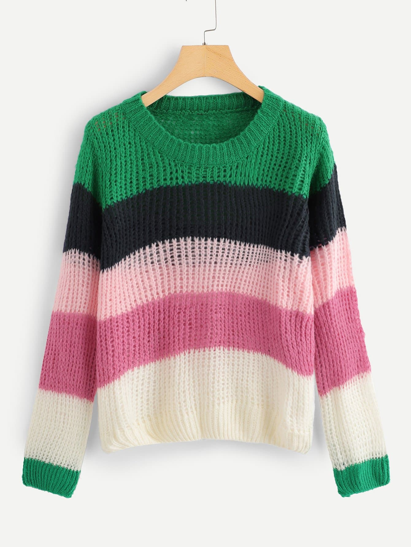 Купить Цветная кусковая полосатая фуфайка, null, SheIn