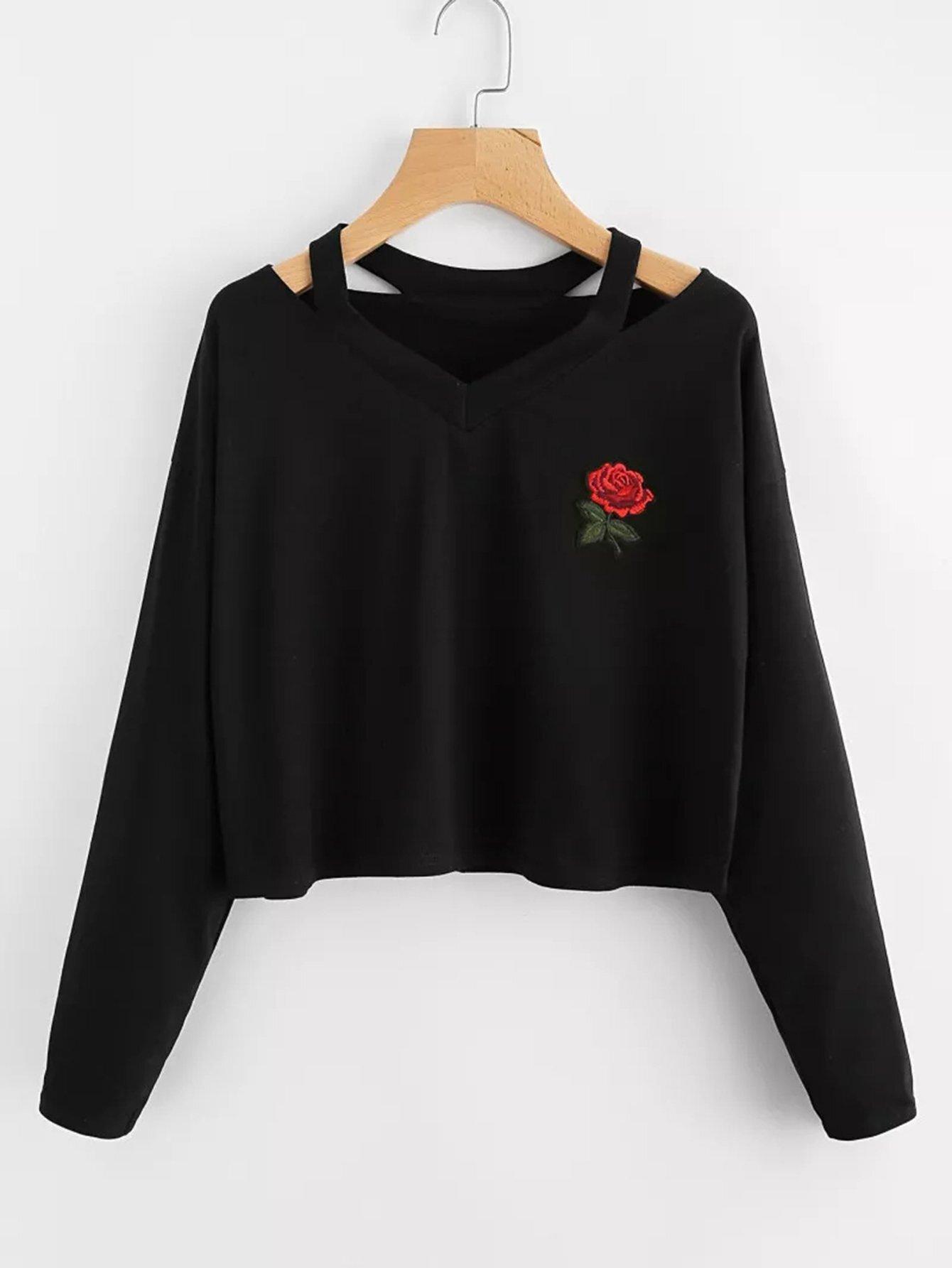 Plus V Neck Embroidered Sweatshirt