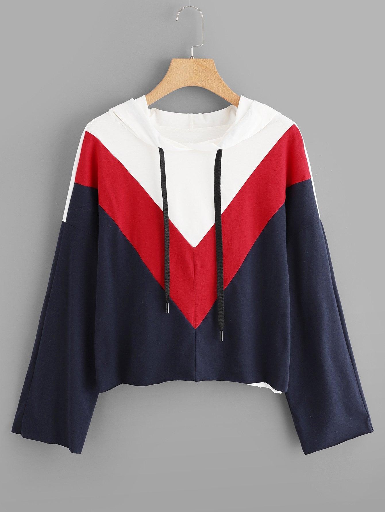 Купить Цветная кусковая спортивная футболка с капюшоном, null, SheIn