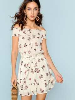 Floral Print Smocked Neck Tie Waist Dress