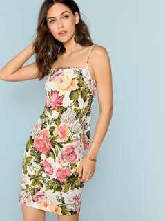 Back Tie Floral Mini Dress