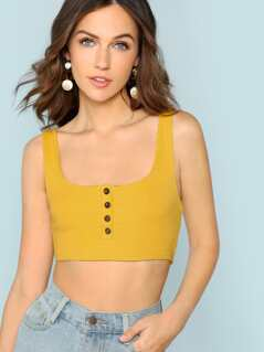 Rib Knit Button Front Crop Tank