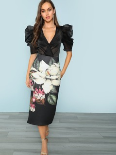 Floral Midi Skirt With Back Slit