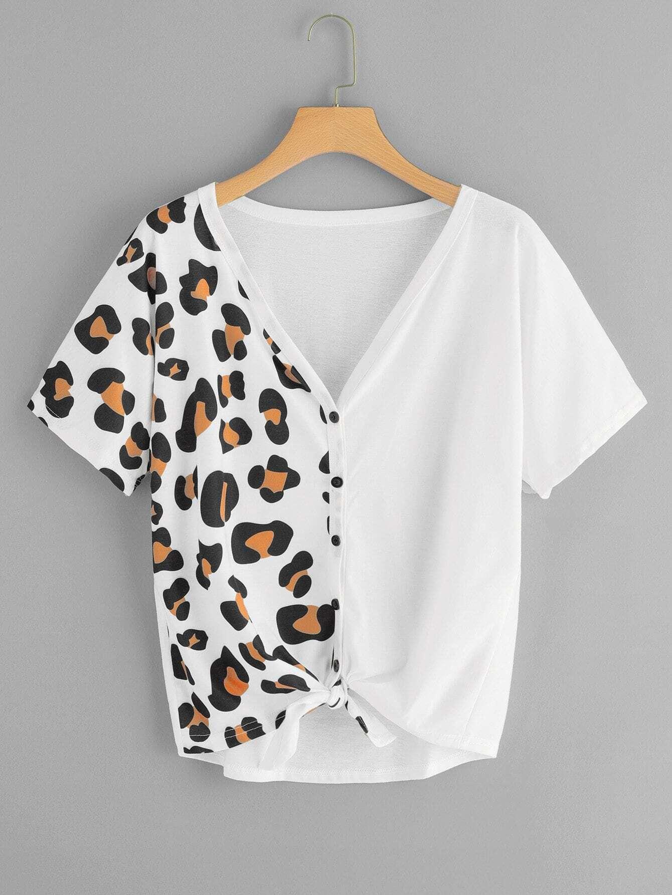 Купить Большая однобортная леопардовая футболка с бантом, null, SheIn