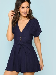 Pleated Deep V-Neckline Romper with Buttons