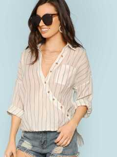 Wrap Front Long Sleeve Striped Shirt
