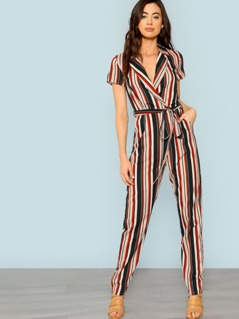 Wrap Belted Striped Jumpsuit