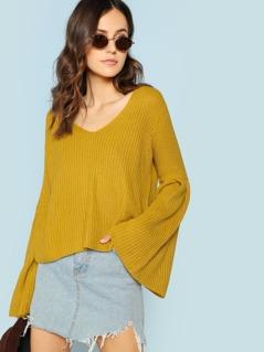 Rib Knit Flare Sleeve Sweater