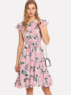 Flutter Sleeve Self Belted Ruffle Hem Dress