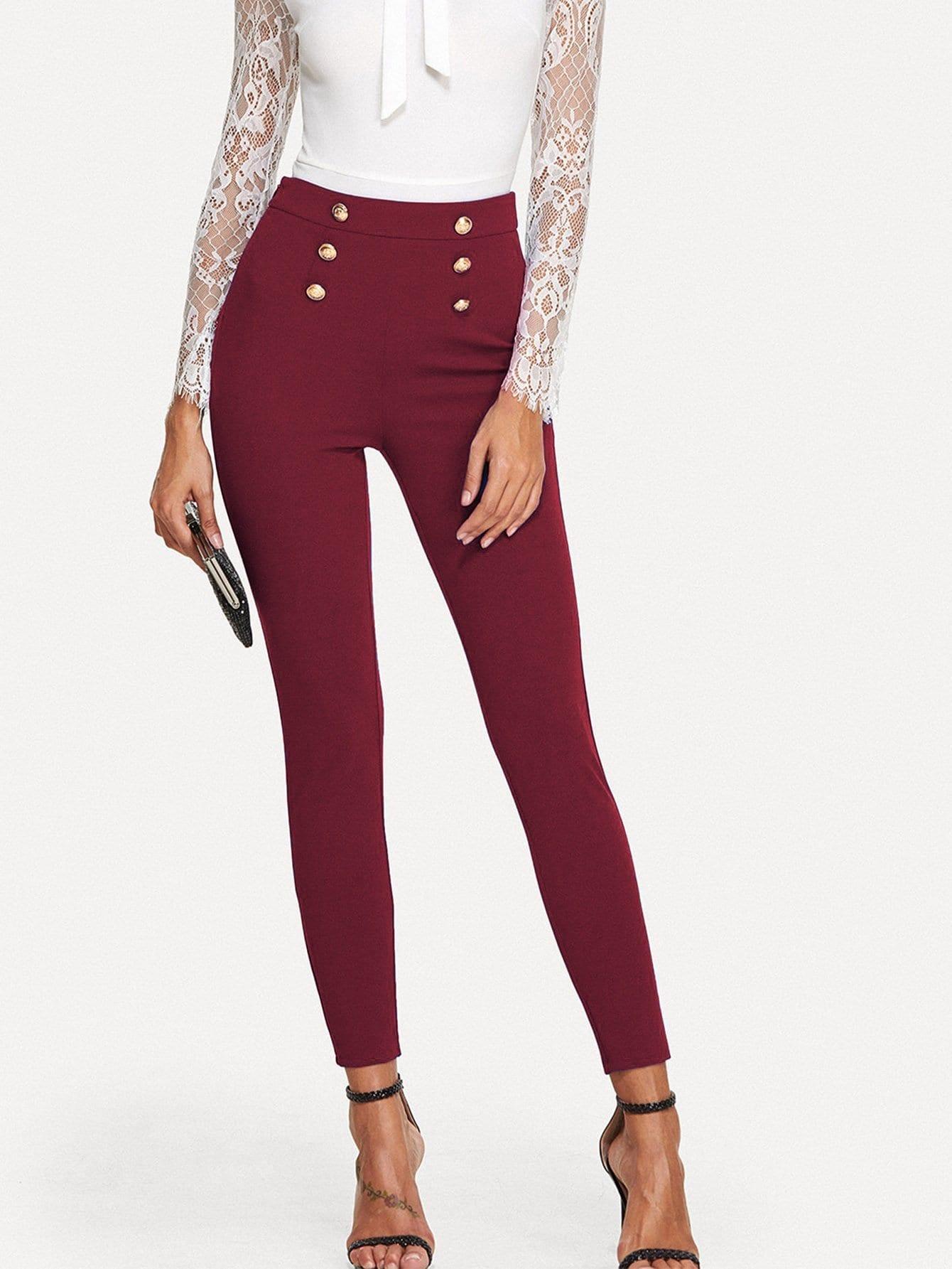 Купить Кнопка украшенные тощие брюки, Giulia, SheIn