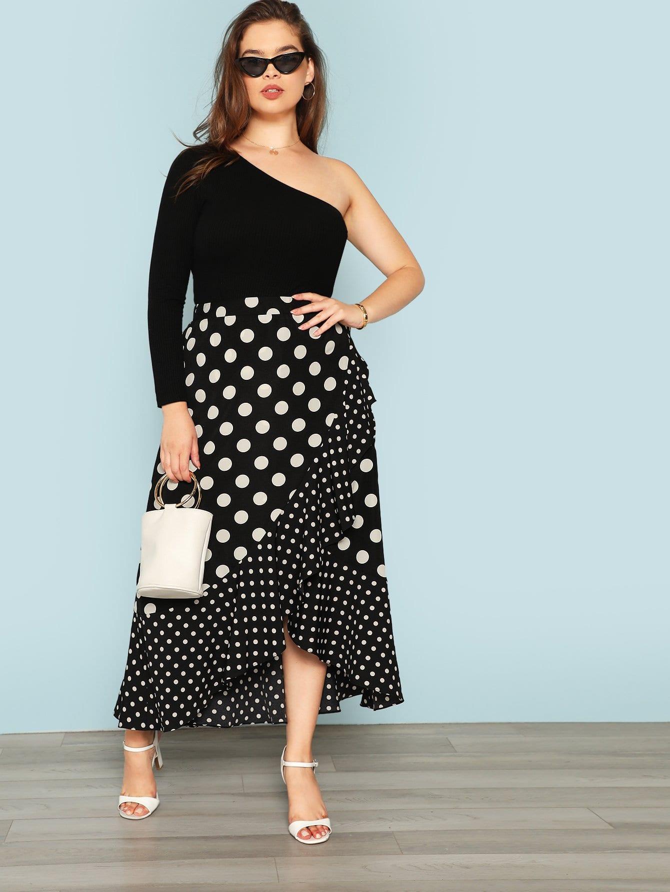 Plus Polka Dot Print Ruffle Wrap Skirt
