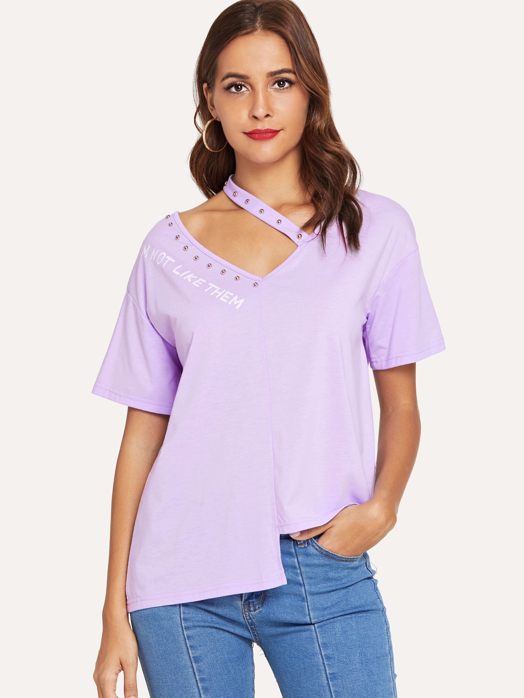 Купить Шипованная вырезная шейка с шалфеем Hem T-shirt, Giulia, SheIn