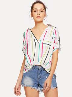 Pocket Patched Striped Dip Hem Blouse