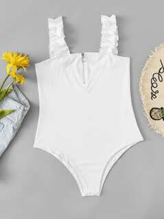 O-Ring Zipper Solid Bodysuit With Ruffle Strap
