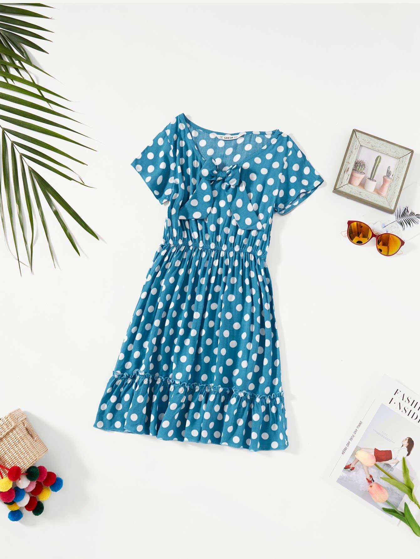 Купить Bow Detail Polka Dot Flounce Hem Dress, null, SheIn