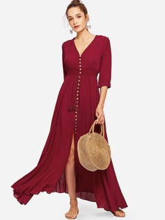 Shirred Waist Tassel Tied Button Up Dress