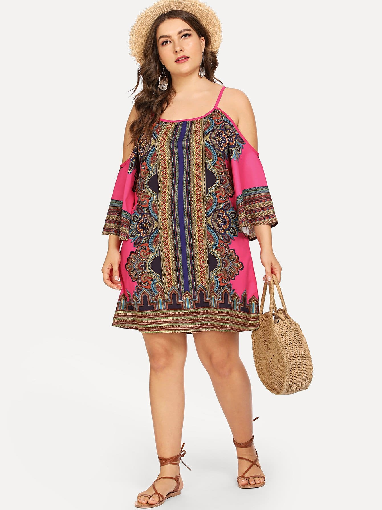Плюс Geo Print Kimono Sleeve Cold Shoulder Dress