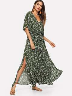 Calico Print Belted Split Kimono Dress