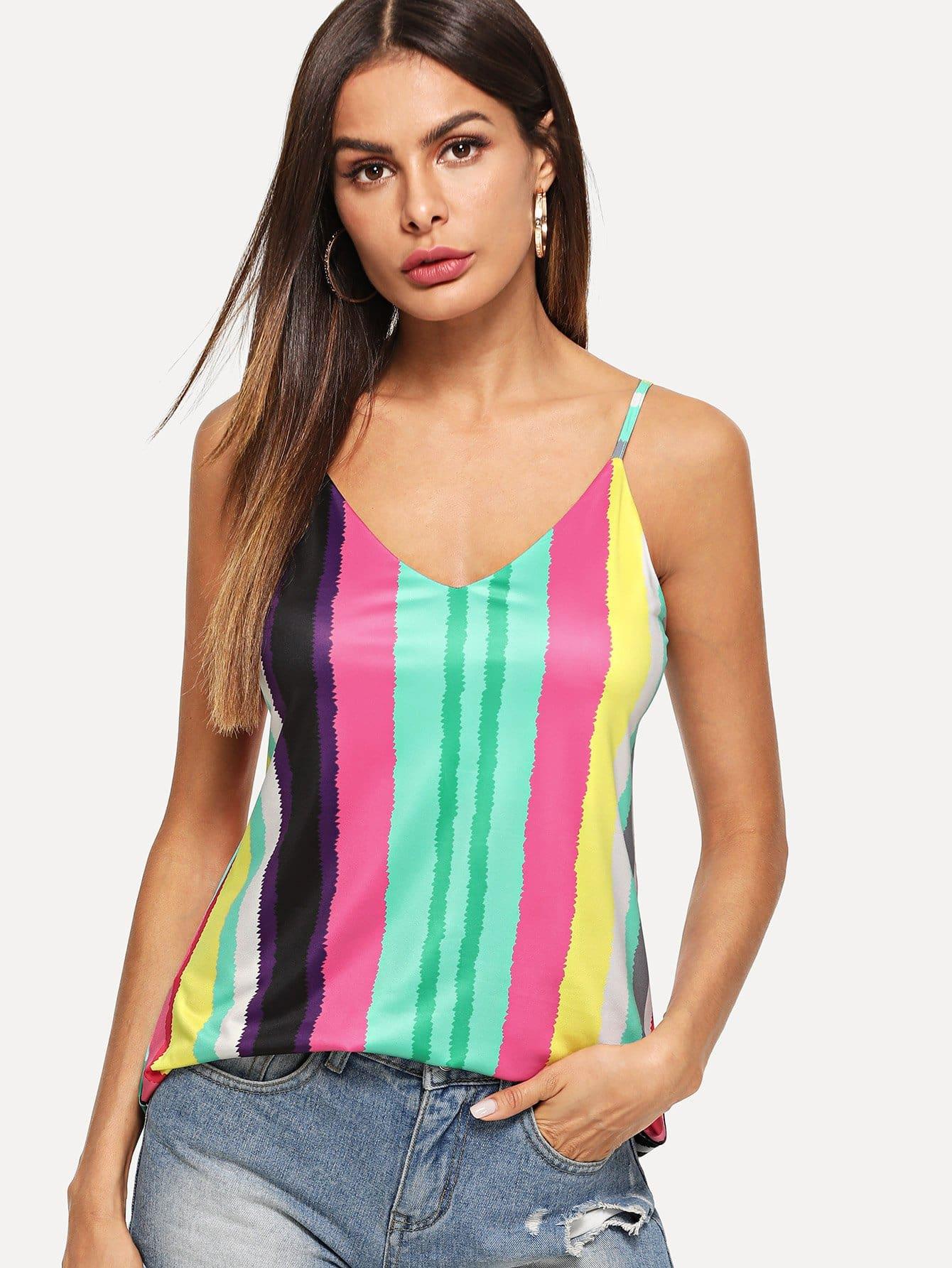 Купить Красочный полосатый Cami Top, Andy, SheIn