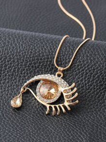 Eye Pendant Chain Necklace With Rhinestone