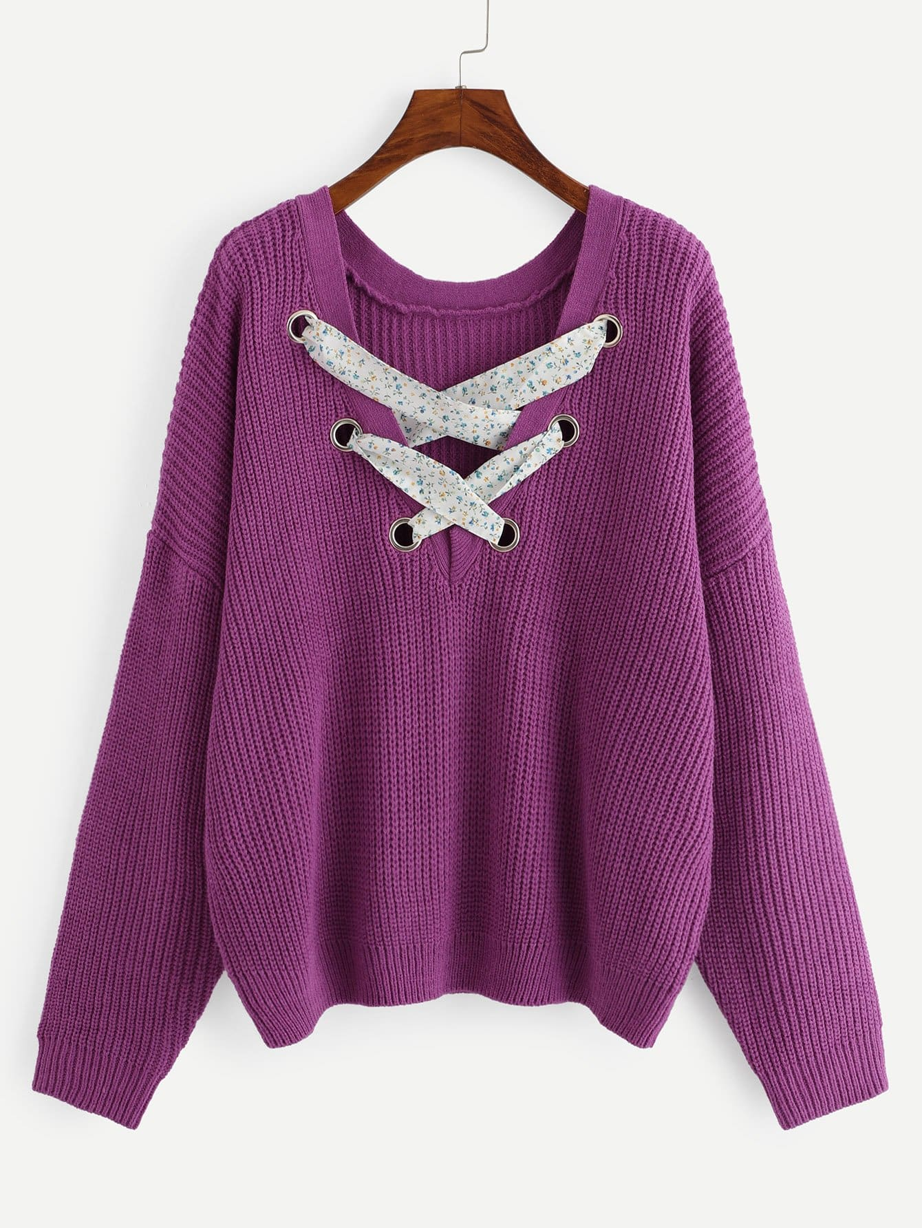 Plus Grommet Crisscross Plunging Neck Jumper fenix чей найди пару