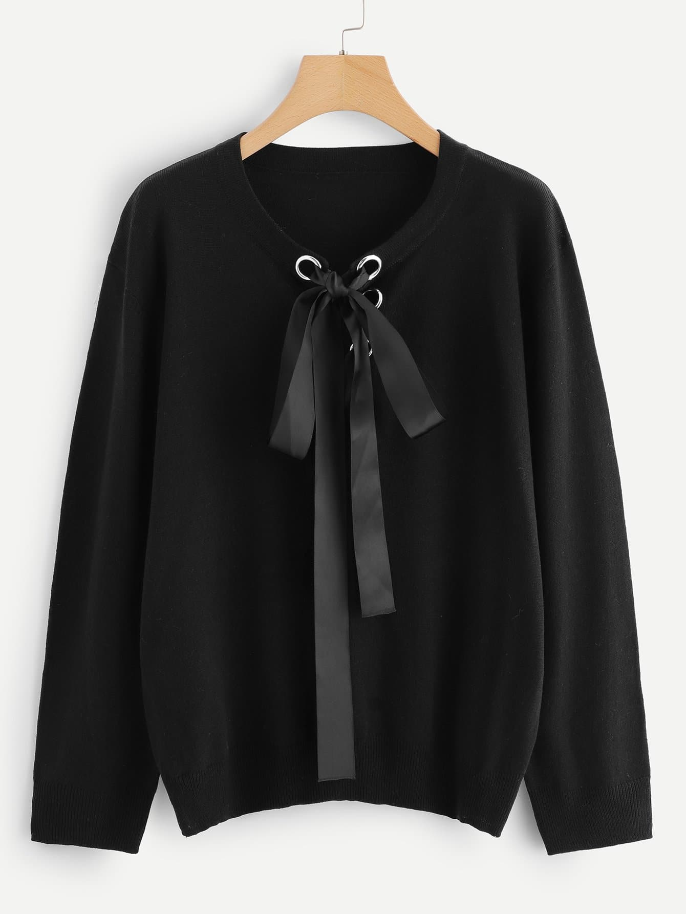 Плюс Grommet Lace Up Neck Jumper