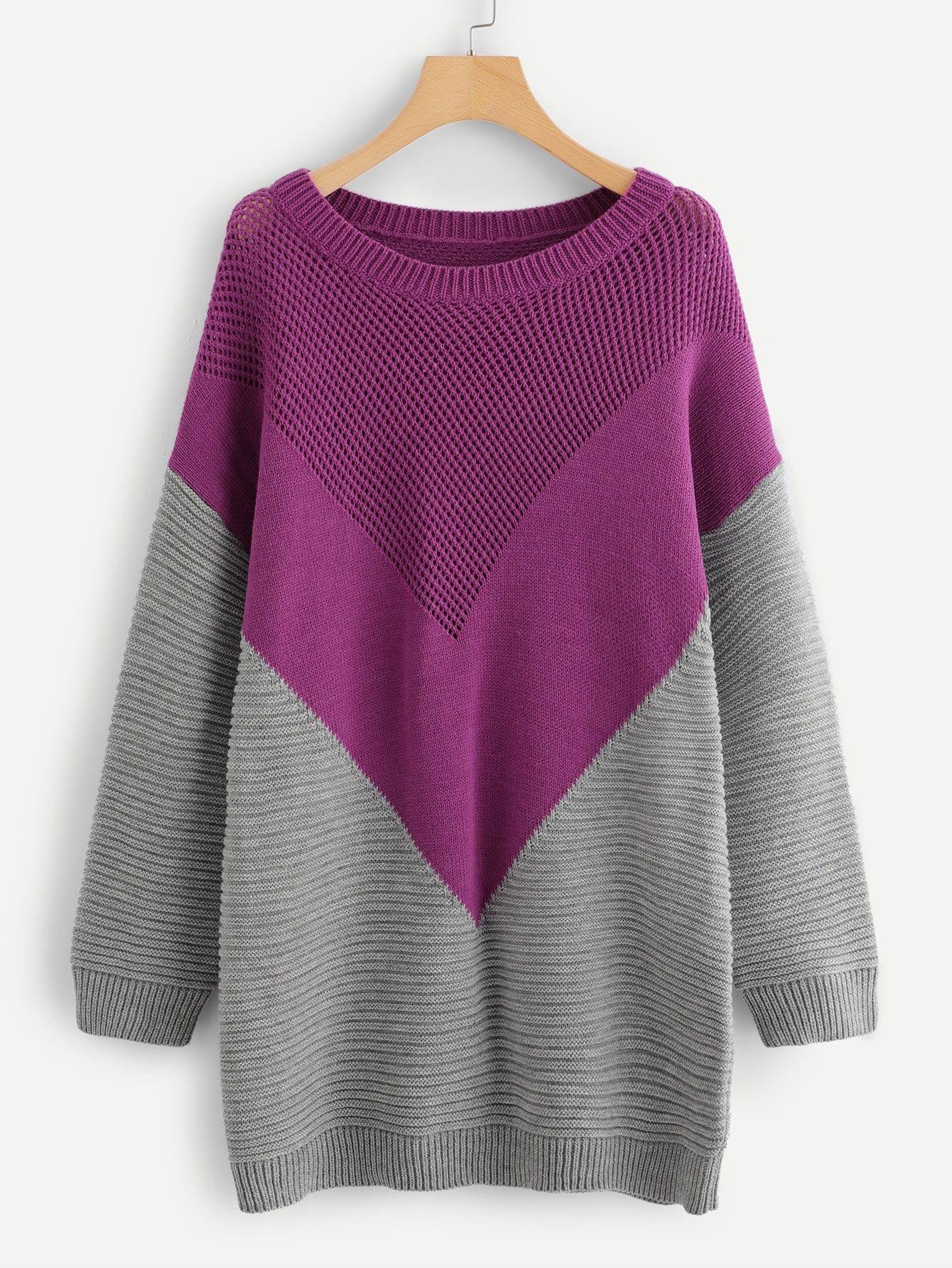 Плюс Loose Knit Longline Chevron Sweater