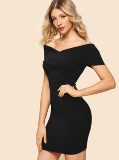 Crossover Bardot Rib Knit Bodycon Dress