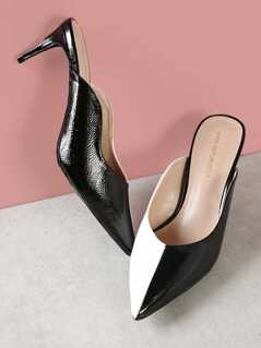 Patent Contrast Pointy Mule Heel