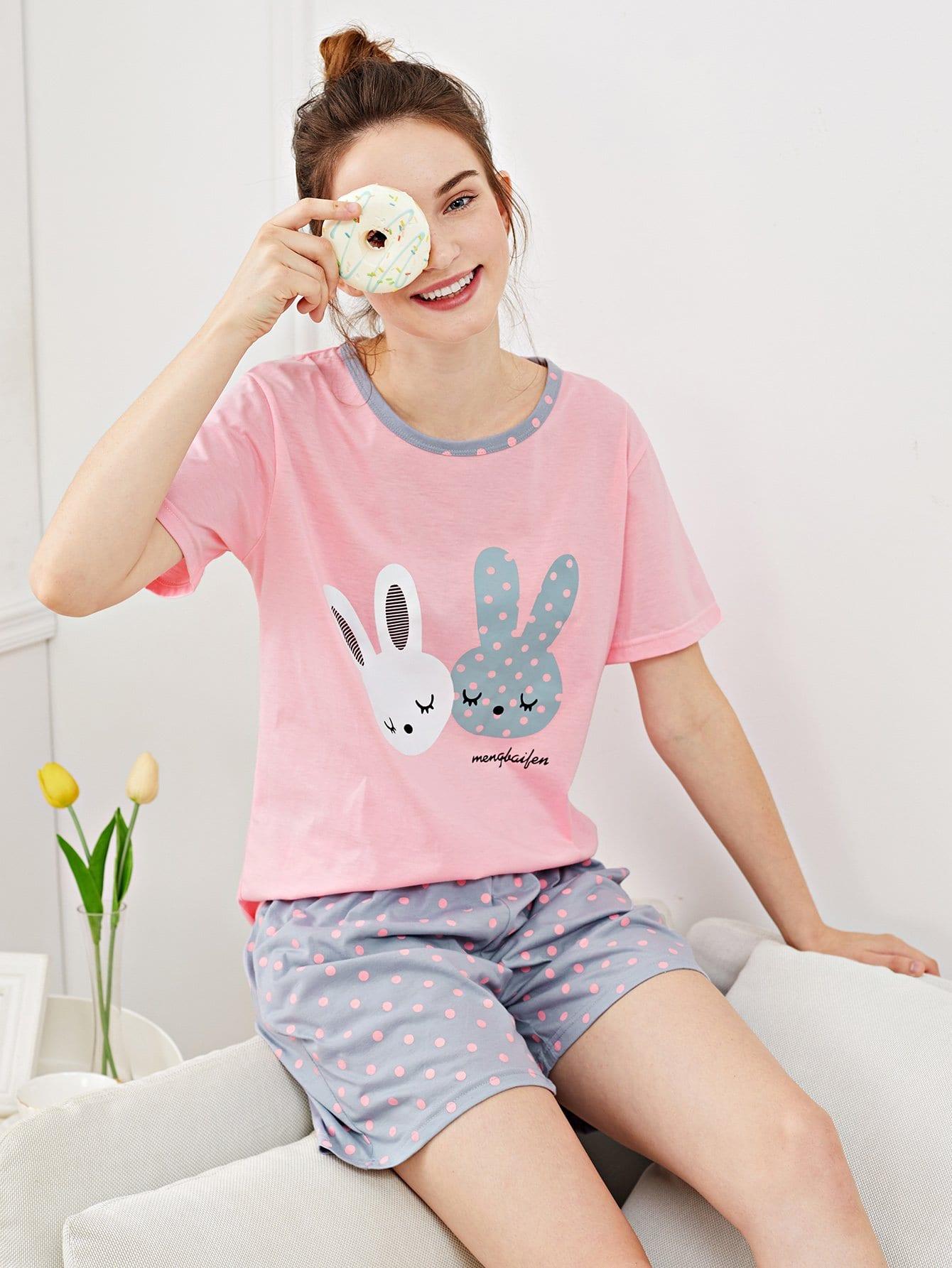 Купить Кролик Печать Polka Dot Pajama Set, Tory, SheIn