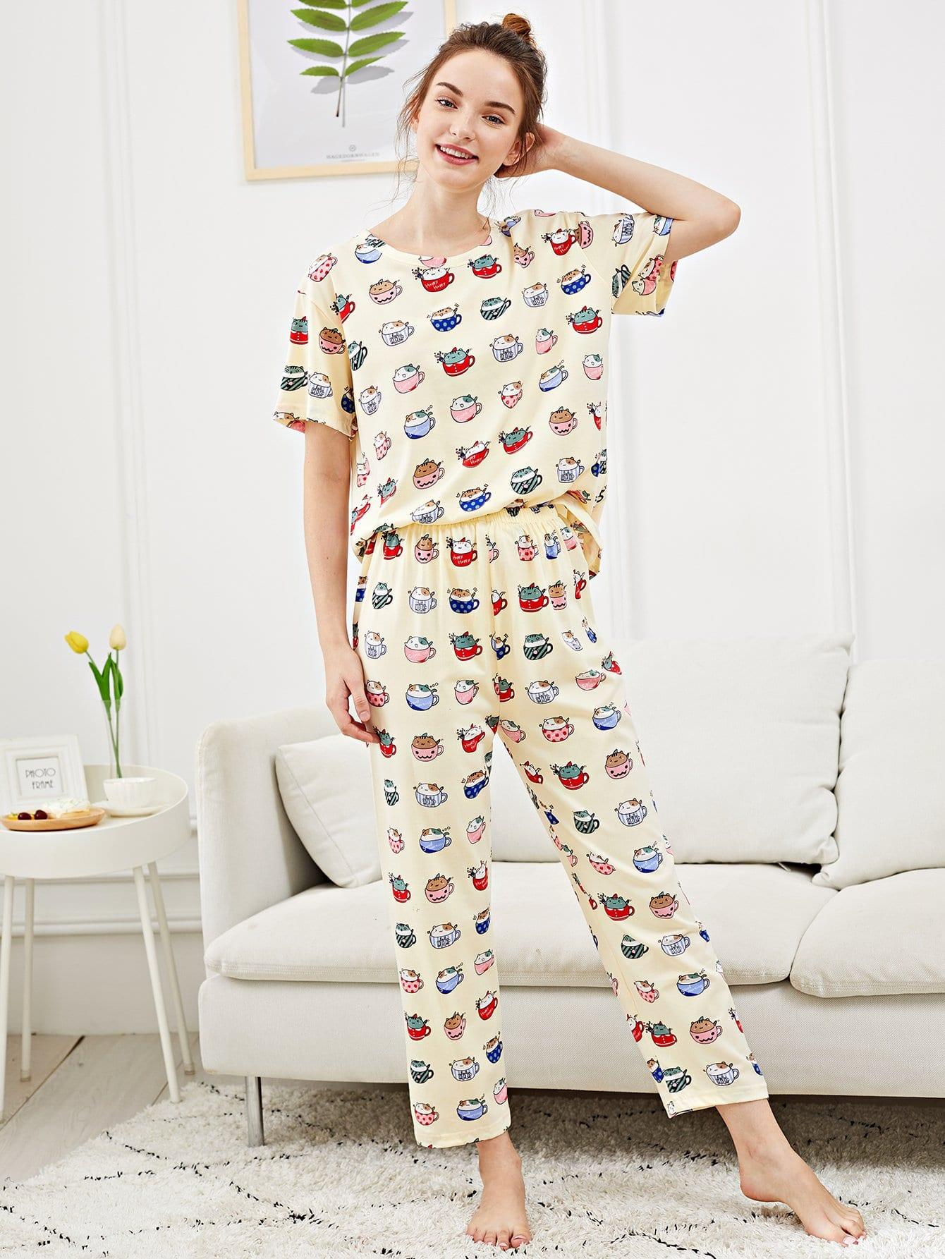 Купить Набор пижамы с рисунками котов, Tory, SheIn