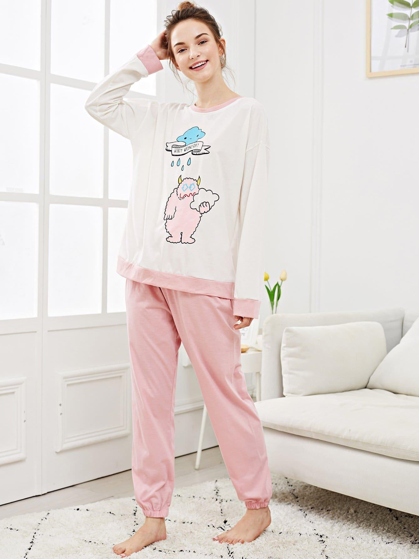 Купить Набор пижамы с рисунками мультипликации и букв, Tory, SheIn