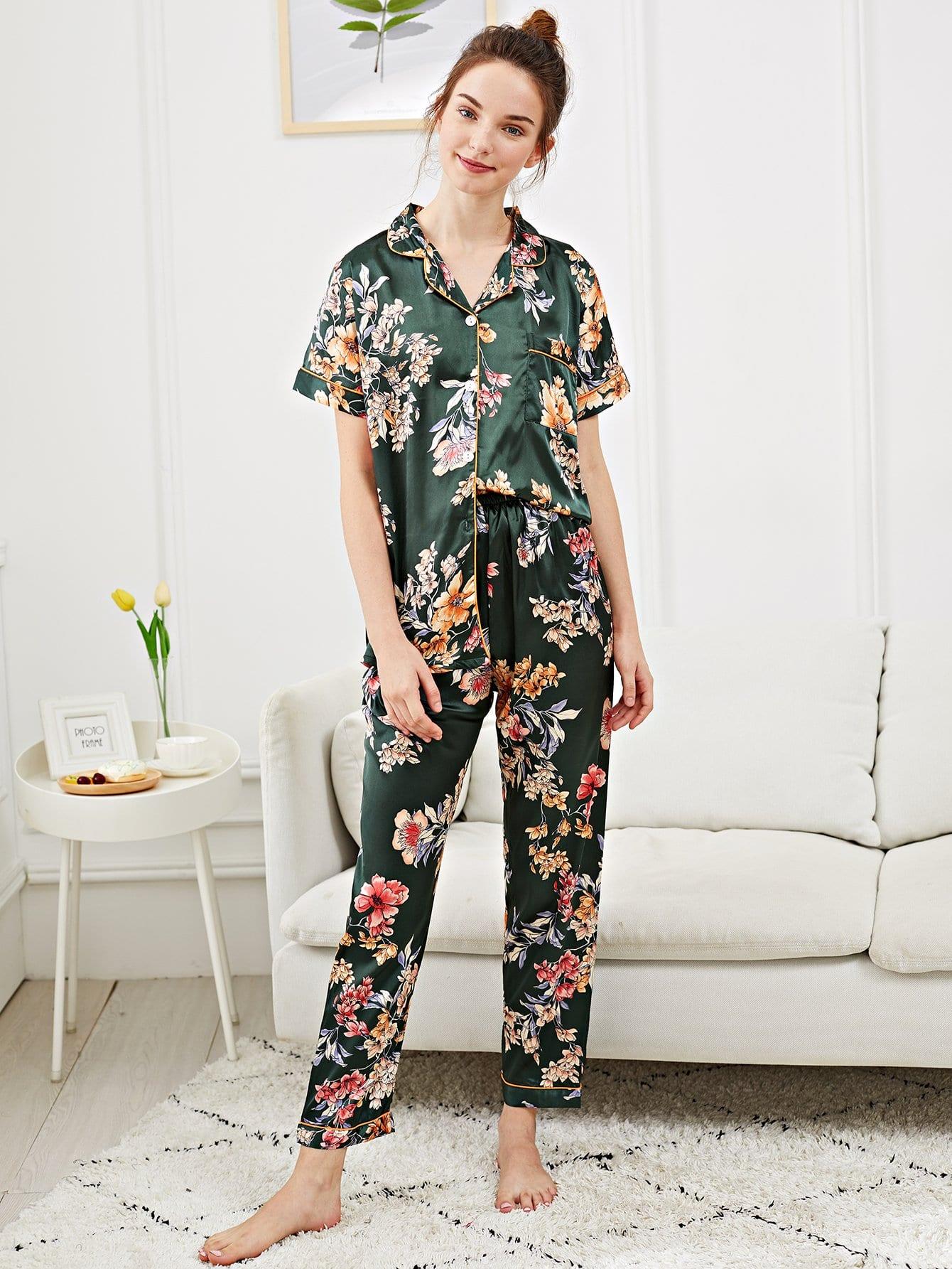 Купить Набор пижамы с рисунками цветов и с украшением пуговец, Tory, SheIn