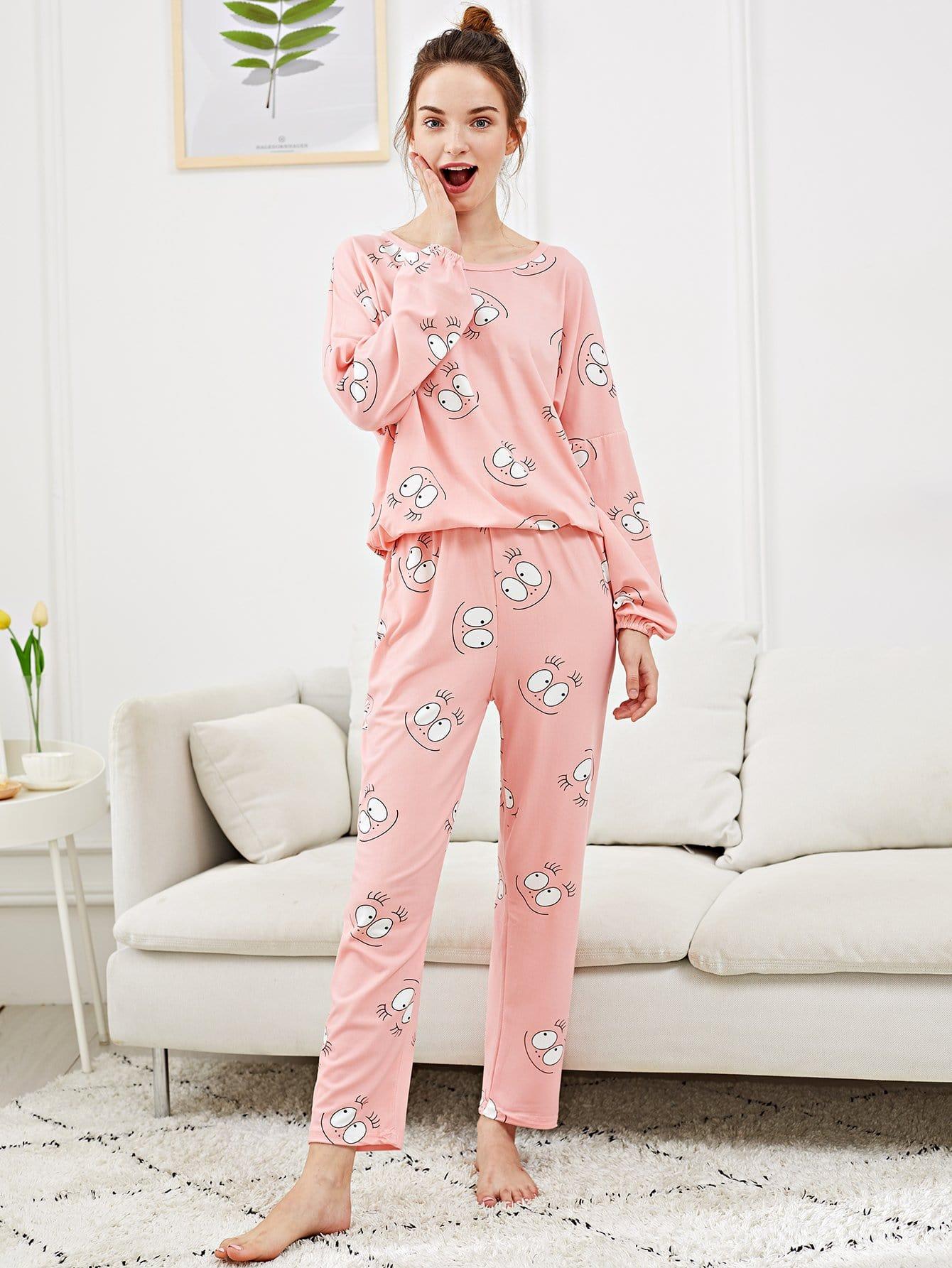 Фото - Cartoon Eye Print Pajama Set With Eye Mask ruffle hem solid pajama set with eye mask