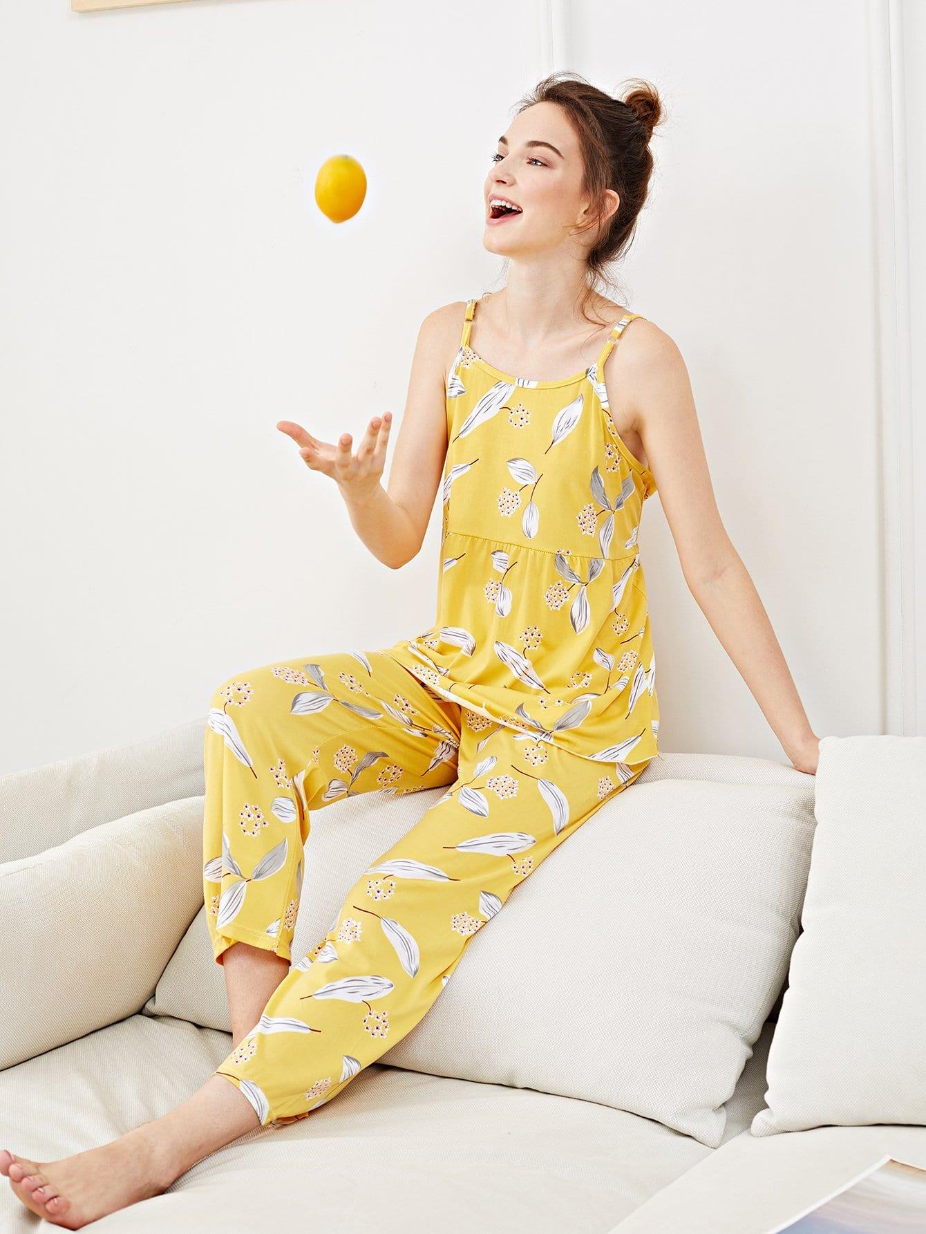 Купить Набор пижамы на бретелях с рисунками листьев, Tory, SheIn