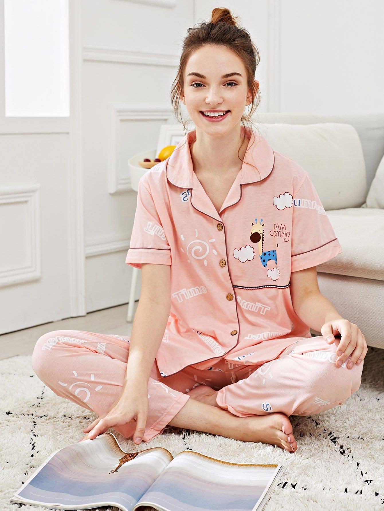 Купить Набор пижамы с рисунками жирафа и букв и с украшением пуговиц, Tory, SheIn