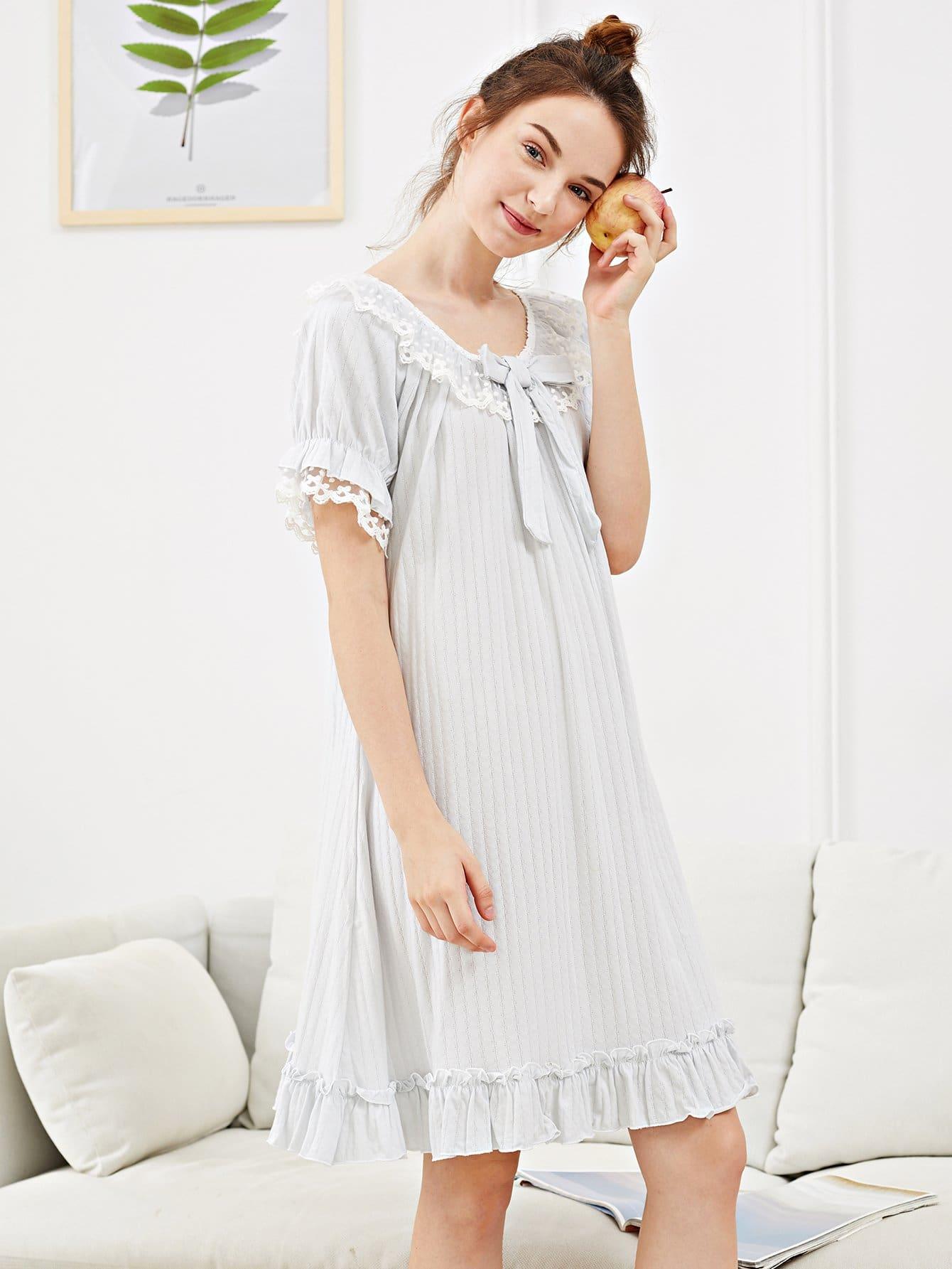 Купить Ночная сорочка с бабочки перед одежды и подол с розеткой, Tory, SheIn