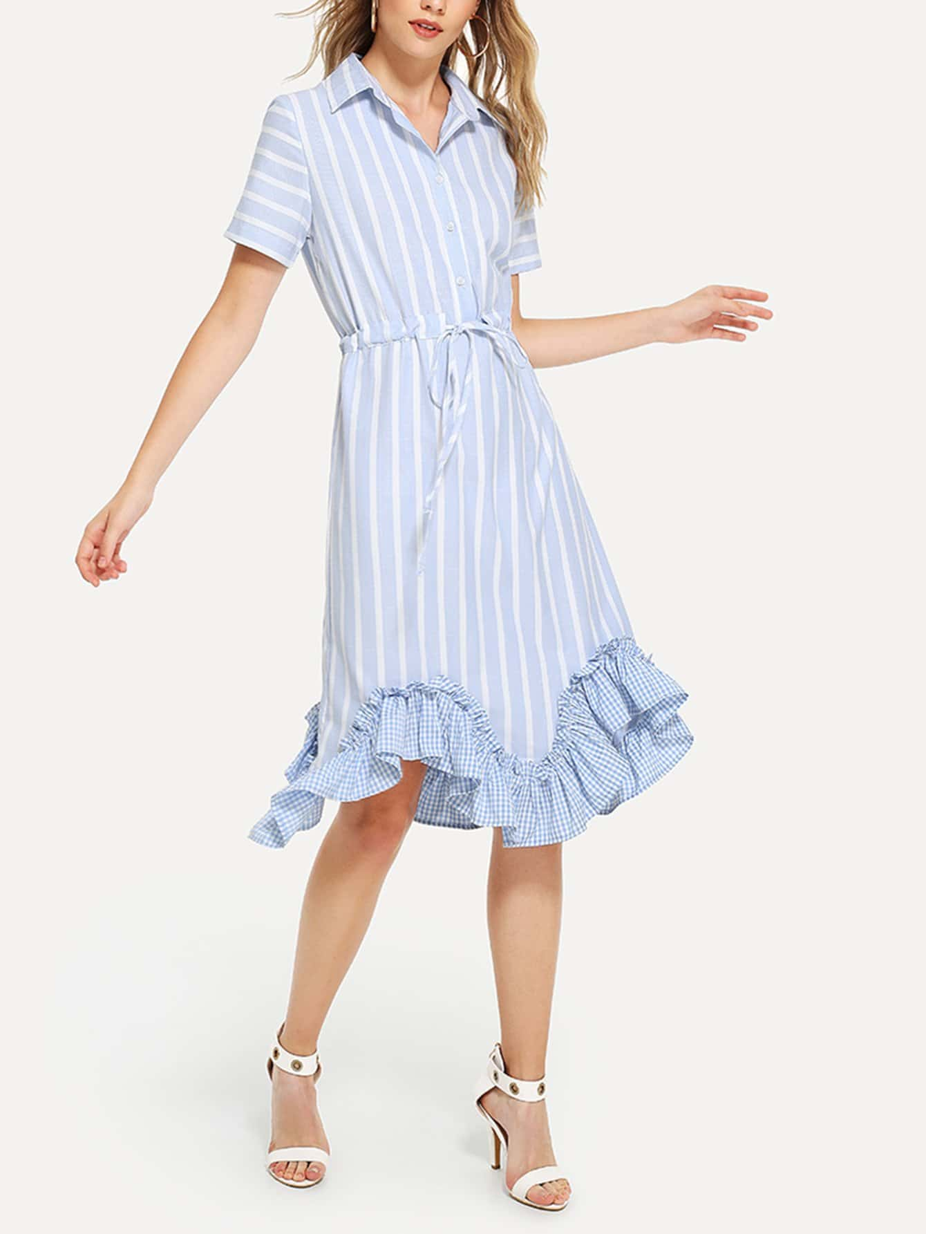 где купить Ruffle Hem Drawstring Waist Striped Dress дешево