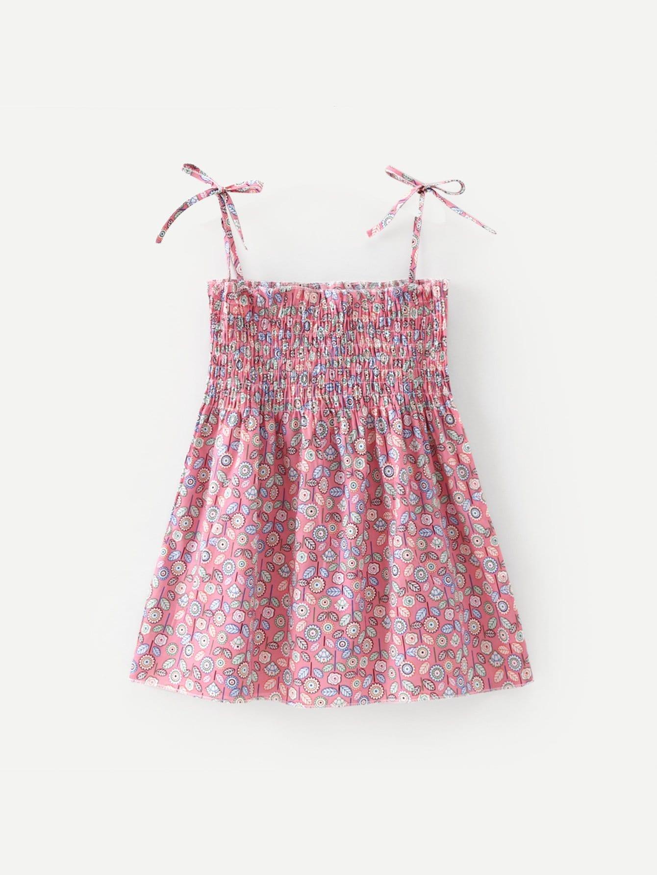 Купить Дети Calico Print Shirred Cami Dress, null, SheIn