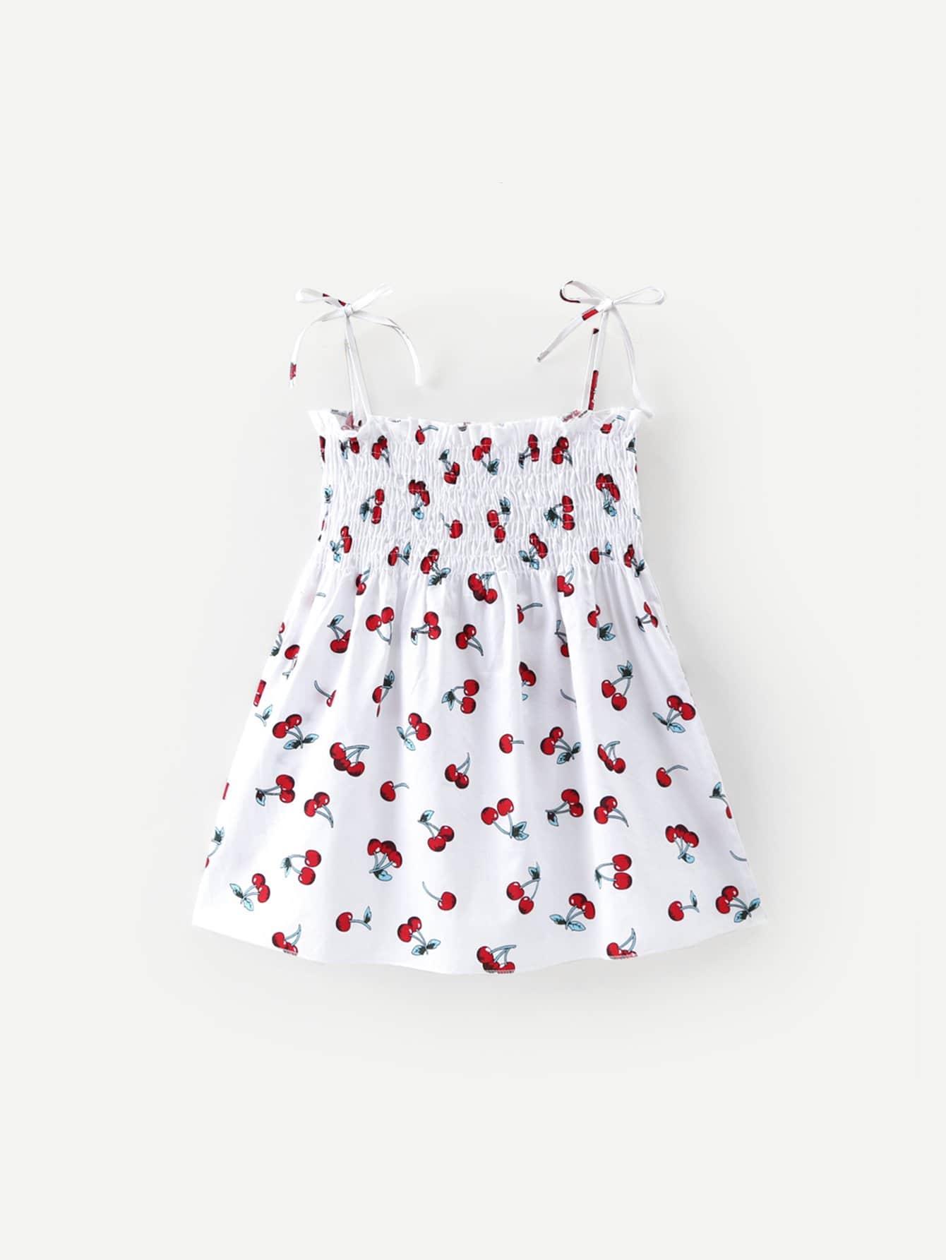 Girls Cherry Print Shirred Cami Dress
