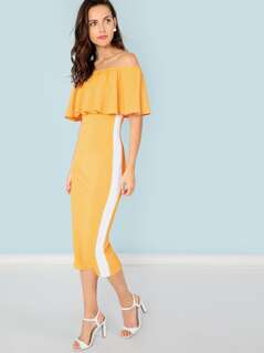 Flounce Foldover Front Off Shoulder Contrast Tape Dress