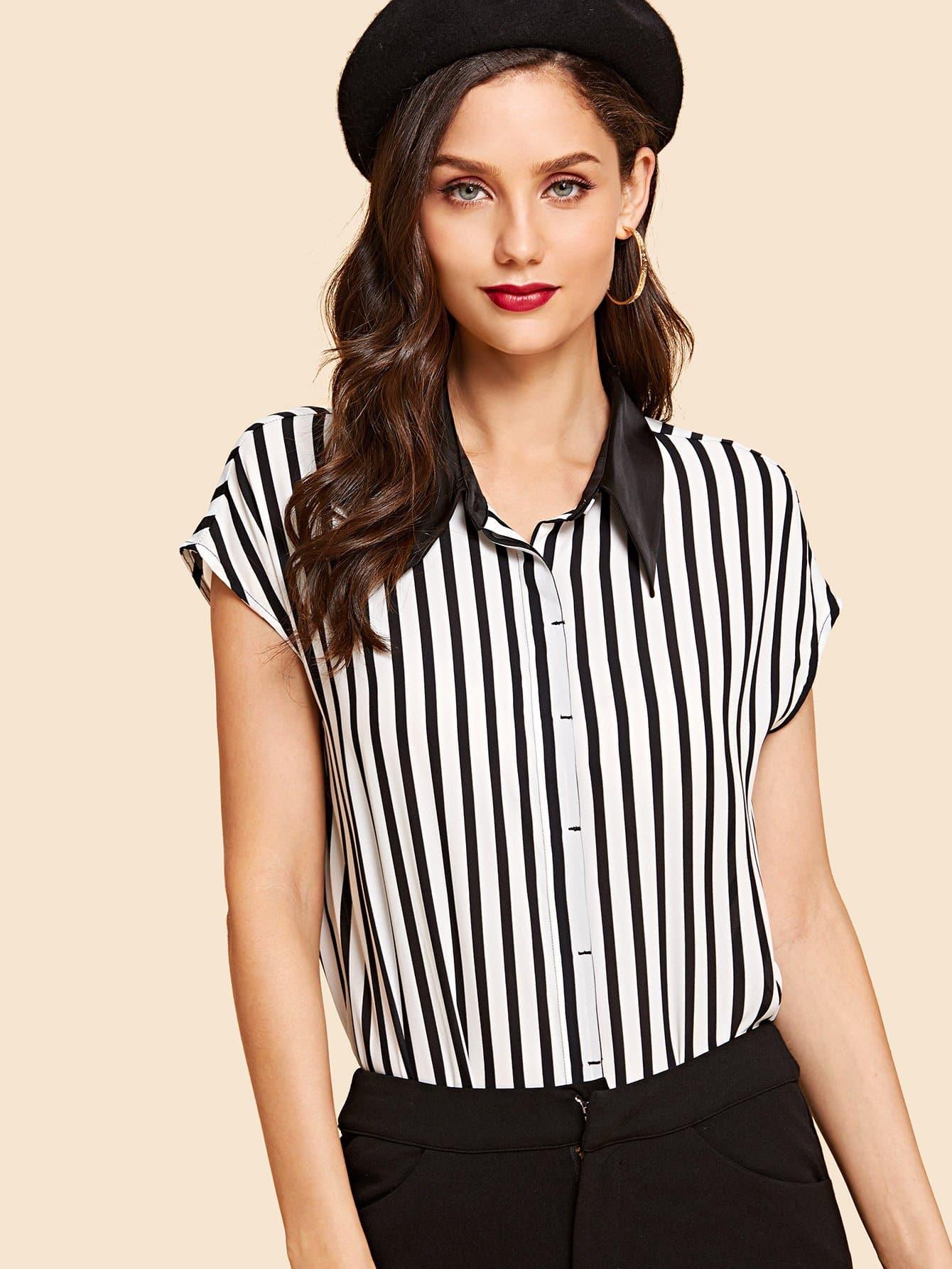 Купить Контрастная воротничка полосатая блузка, Julie H., SheIn