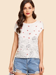 Figure Print Cap Sleeve Top