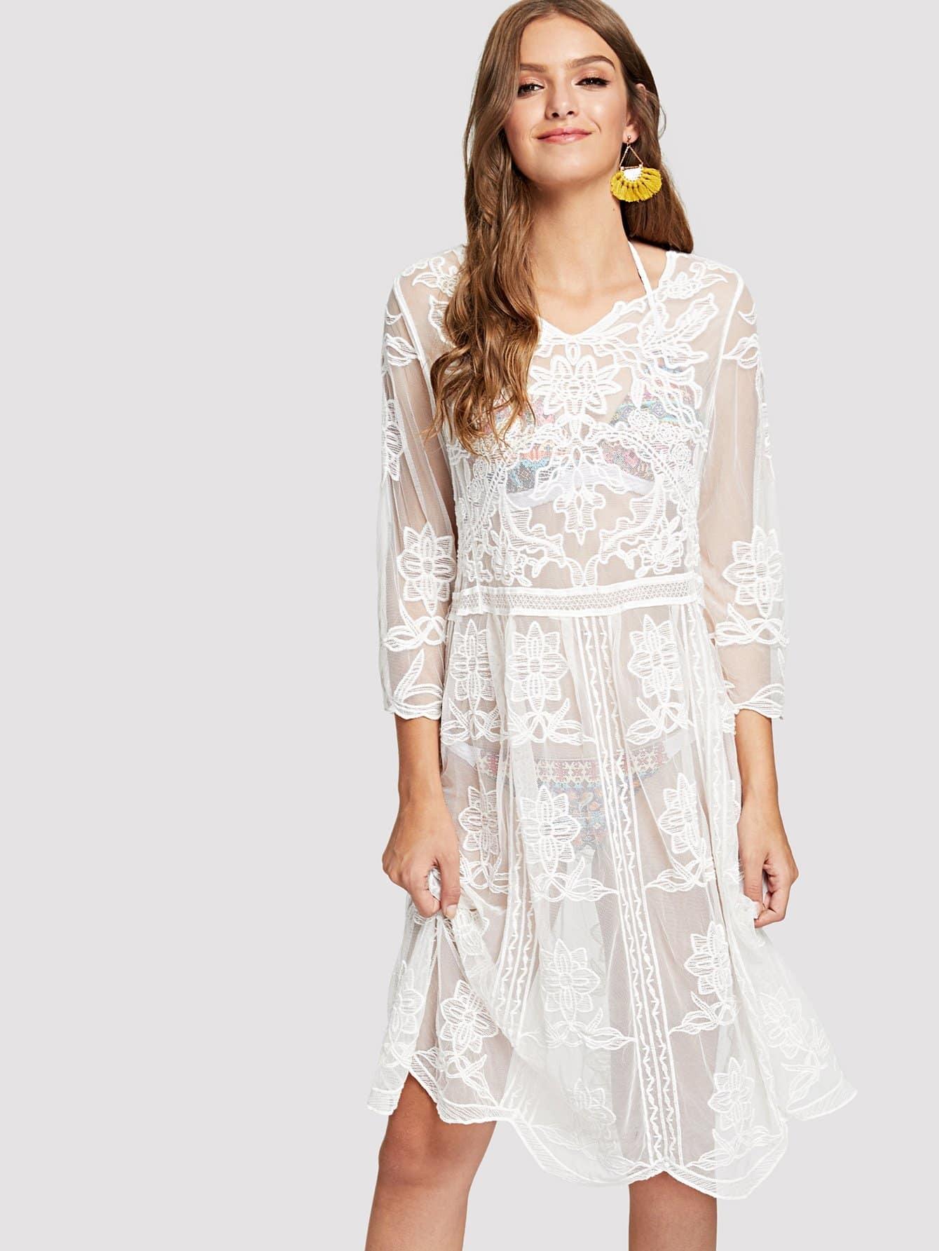 Купить Платье с вышивкой из гребешка, Luiza, SheIn