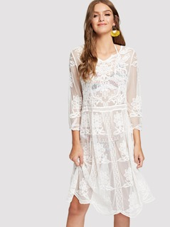 Scallop Hem Embroidered Mesh Cover Up Dress