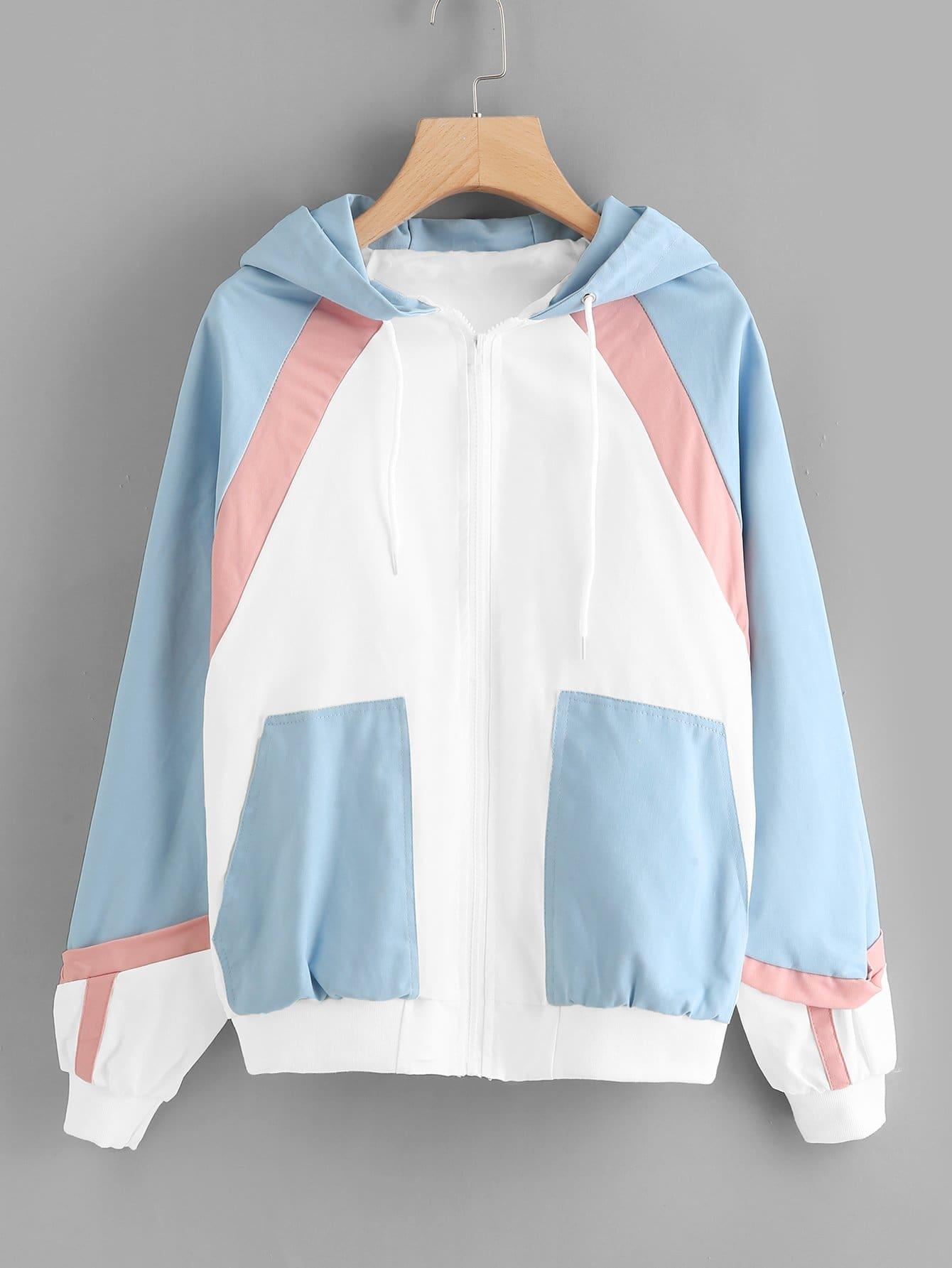 Купить Цветная кусковая куртка с капюшоном и с застёжкой молния, null, SheIn