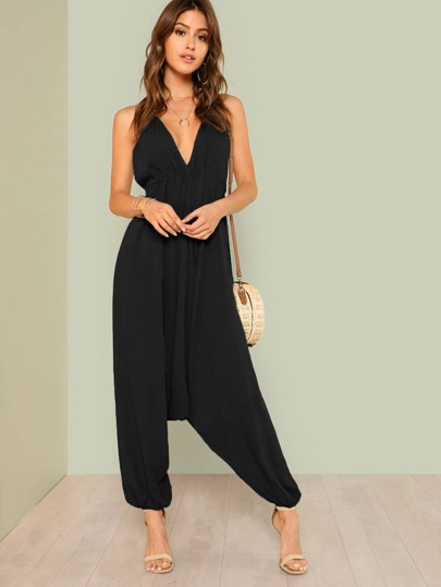 Open Back Halter Harem Jumpsuit