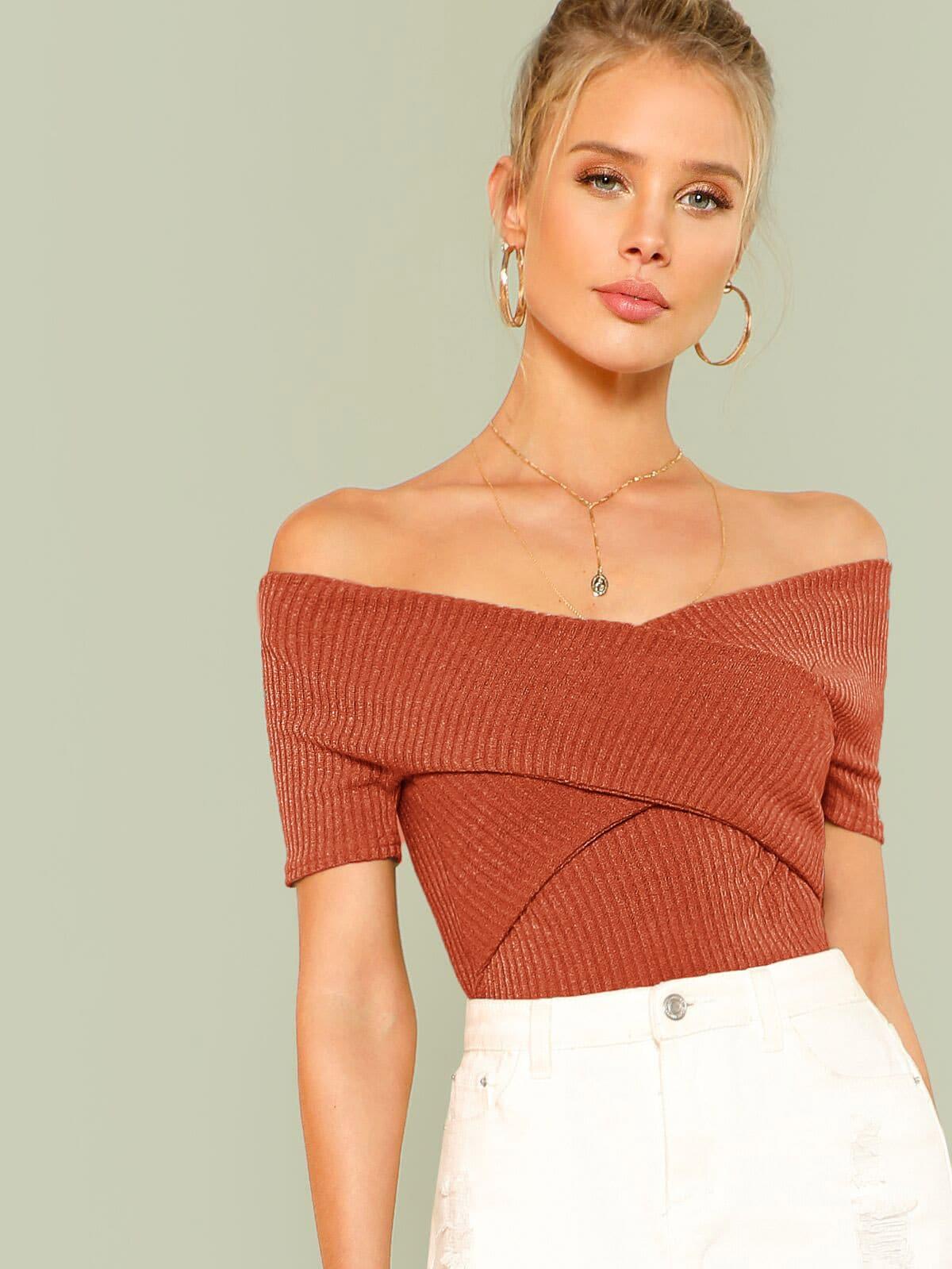 Купить Wrap Design Bardot Ribbed Top, Allie Leggett, SheIn